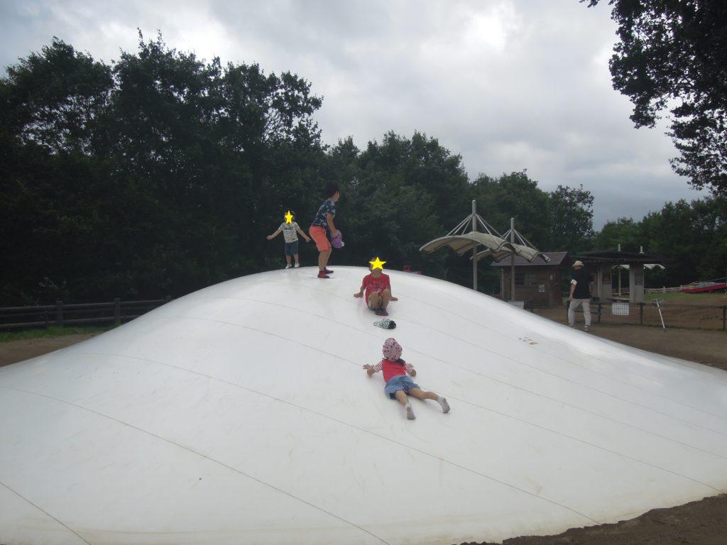 ふわふわドームで遊ぶ子どもたち